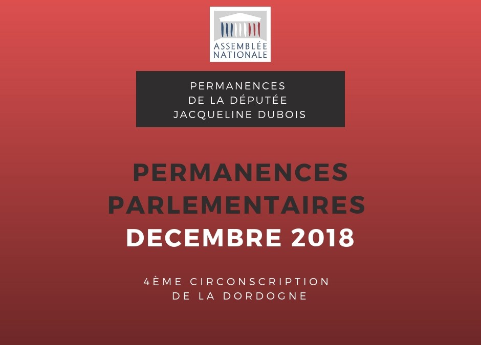 Permanences parlementaires DECEMBRE 2018