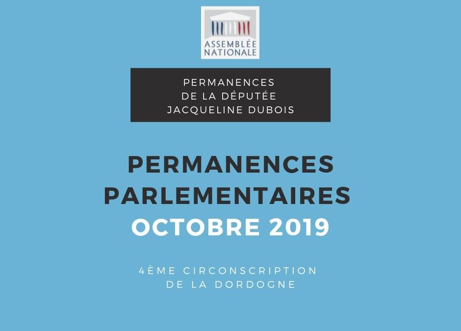 Permanences parlementaires OCTOBRE 2019
