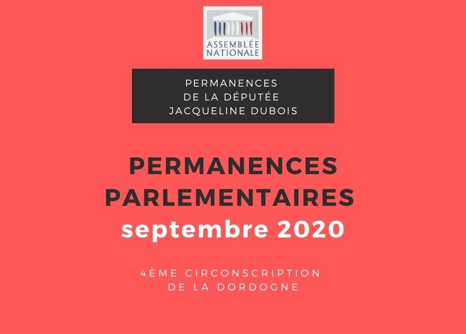 Permanences parlementaires SEPTEMBRE 2020