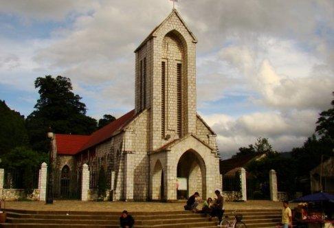 Church in center