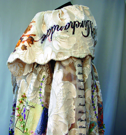 4   The Great Coat -  collar and left side detail  26  x 24 inches embellished embosed and beaded fabrics  2011 (2)
