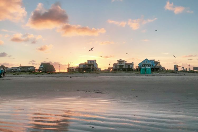 Sunset over multi-family vacation properties