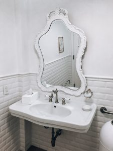 Bright white restroom