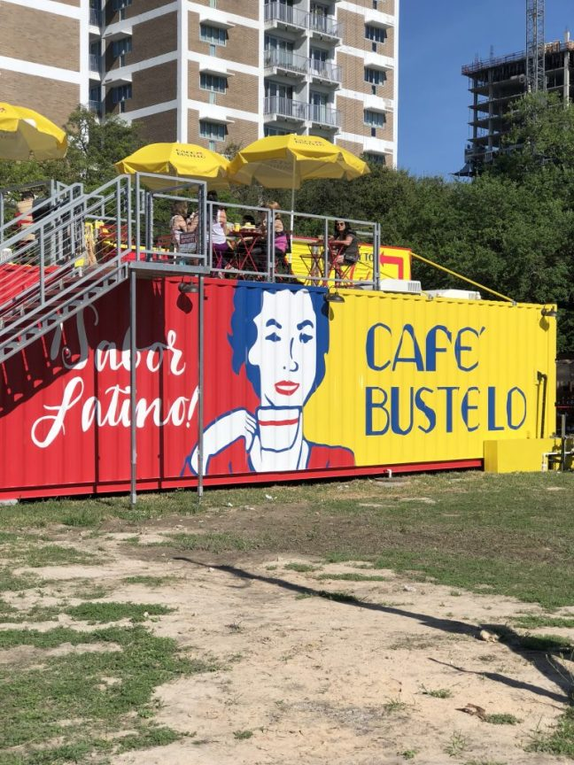 Pop-up coffee shop Café Bustelo in Houston in a yellow shipping container