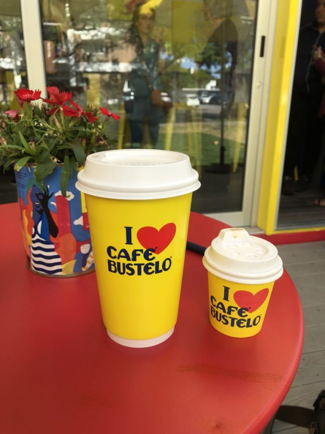 Coffee sizes at Café Bustelo in Houston