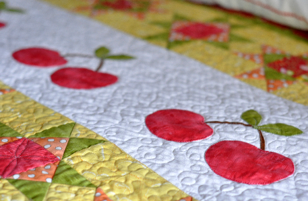 Cherry Quilt Jacquelynne Steves, Machine applique