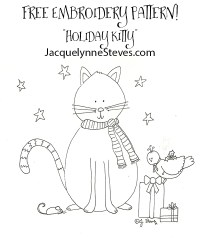 Holiday Kitty & Friends Free Embroidery Pattern- Jacquelynne Steves