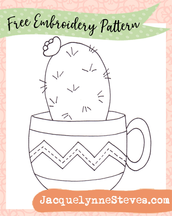 free embroidery pattern cactus