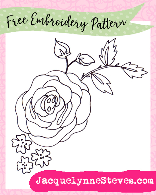 free summer rose embroidery