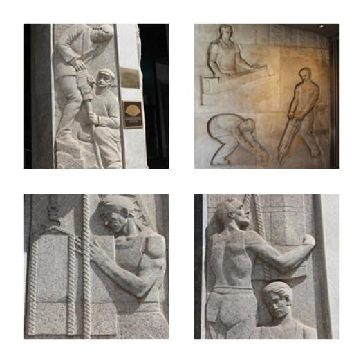 la fin du salariat ? bas relief montrant le travail manuel sur l'avenue principale de Barcelone