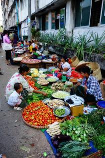 Market street in Yangon