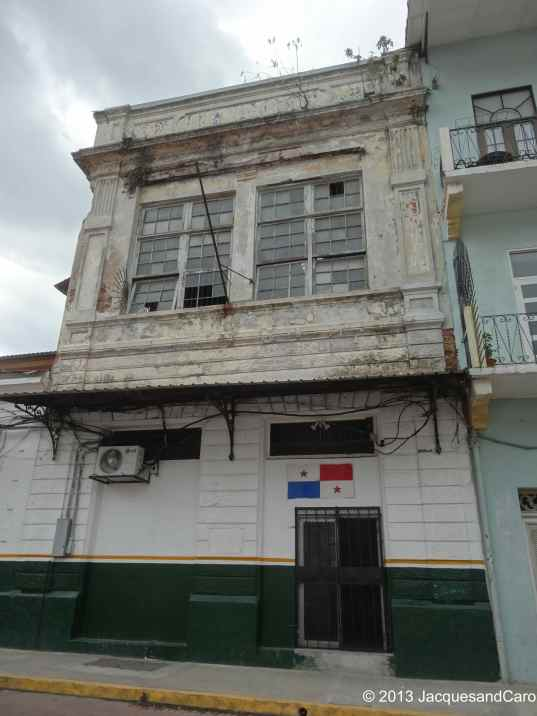 Old building with Panama flag in Casco Viejo