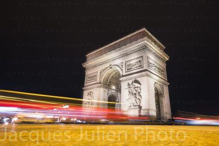 Arc de Triomphe de nuit – Photo stock