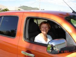 Céline... dans notre belle auto ultra voyante.