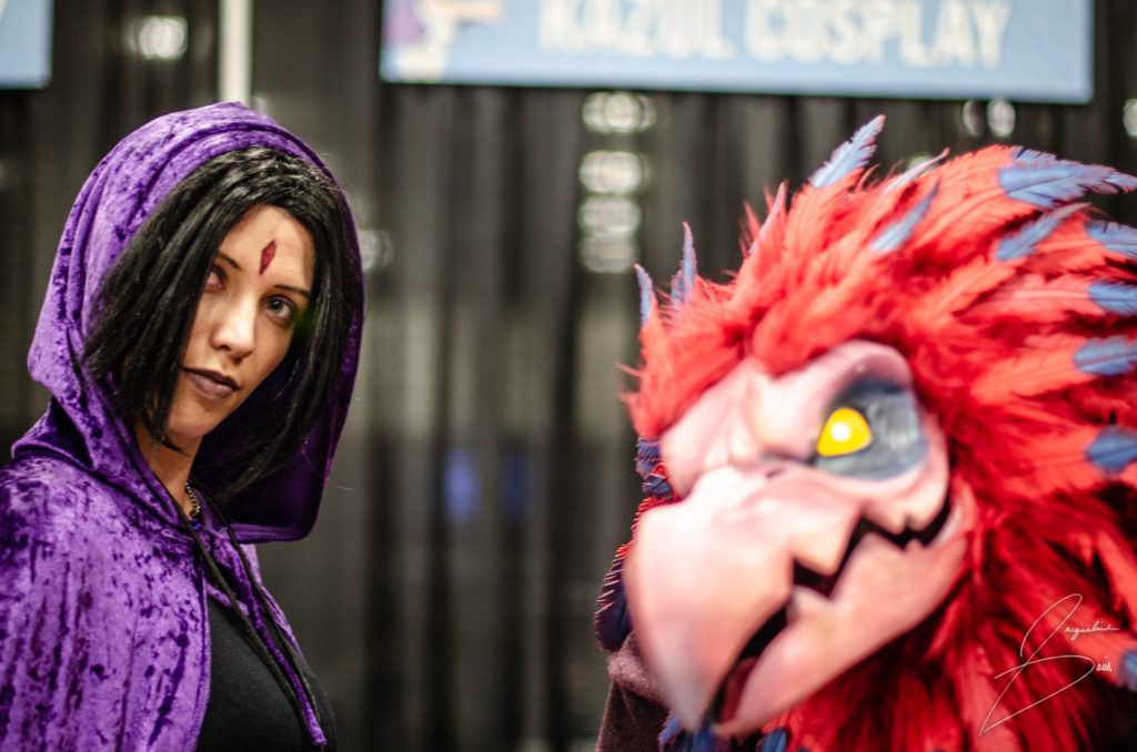 Liz cosplaying Raven and Kazul Cosplay out of focus