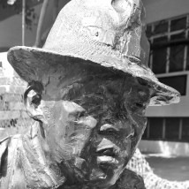 Statue of its namesake in front of the original Kippies Jazz Club