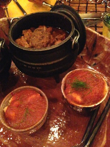 Allegaartjie Potjie - Slow cooked mutton neck, pork breast, beef shin and BOOM Chakkalaka