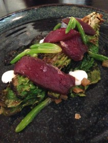 Smoked wallaby, grilled lettuce, yoghurt, preserved lemon