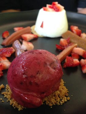 Rose water panna cotta, poached rhubarb, sumer berries, spiced blackberry sorbet