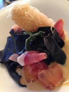 Snapper, scampi, squid ink lasagnette, jamon, sauce American - outstanding dish!!!!