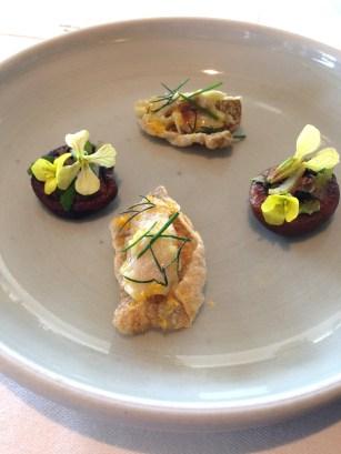 Otway shitake, eggplant, white miso. Hapuka and crisp skin - Brae, Victoria