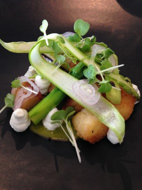 Pan fried Parisienne potato gnocchi, asparagus and goats curd from Gladioli, Victoria
