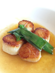 Pan seared scallops with spring onions - The Fish House, Burleigh Heads, QLD
