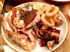 Seafood selection tasting plate