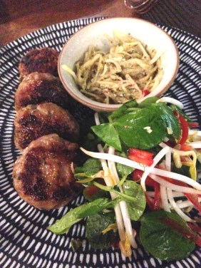 Pork and Blue Swimmer Crab Cakes with salted duck egg relish
