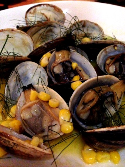 Clams with fermented corn and smoked butter from Pei Modern, Sydney