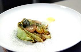 Cabbage, mussel butter, bone marrow, pomelo