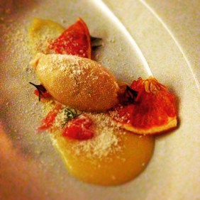 Grapefruit Curd, candied and fresh grapefruit, caramelised white chocolate ice cream, dill