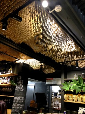 The funky ceiling of wooden spoons