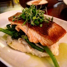 Ocean trout on a bed of celeriac, broccolini, a hint of garlic and fresh lime