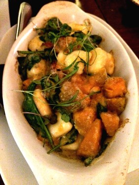 Home made potato gnocchi with oven roasted pumpkin, spinach, Gorgonzola and roasted walnuts