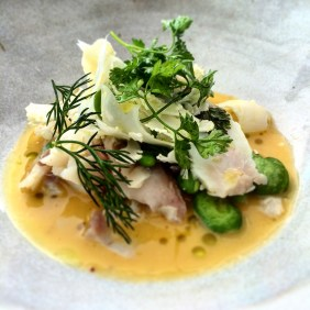 Salted snapper, broad beans, cauliflower and beurre blanc
