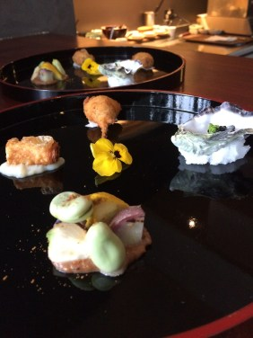 Cauliflower, broad beans, purple potatoes and squash, octopus with crispy udon, quail with sechuan spices, coffin bay oyster with caviar