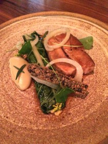 Glazed pork belly, morcilla croquette, fennel, silverbeet and mustard