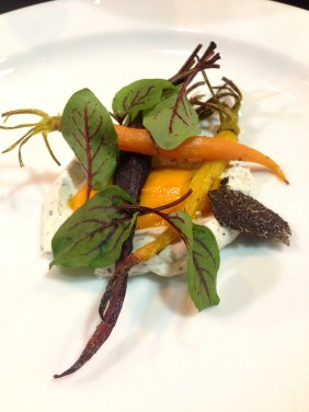 Smoked heirloom carrots, Adelaide Hills goat cheese bavarois and shaved truffle