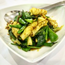Stir fried squid with Chinese celery