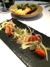 Miso cured kingfish with burnt carrots, fennel and blood orange