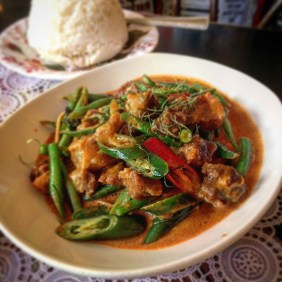 Pork Belly Dry Red Curry, Green Beans and Green Peppercorns