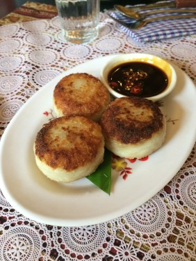 Taro dumplings with Chilli Soy