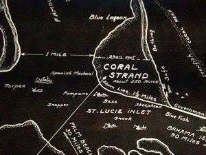 "1950 map by Ben McCoy of the ""Coral Strand"" and its riches,  today known as Sailfish Point."