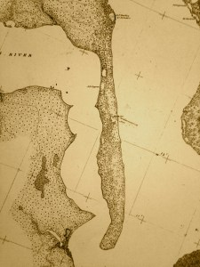 "1883 topographical map, sheet 1652, of the ""South End of Indian River,"" Colonna. Survey, chief of Party, B.H. Colonna."