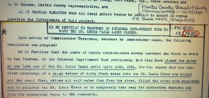Written minutes from a Martin County Commission meeting in 1931 asking  the ACOE to close the locks and  the importance to its citizens.  (Photo Martin County archives.)