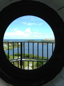 View of Atlantic from inside Jupiter Lighthouse.