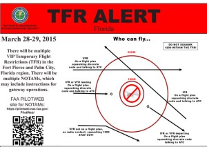 TRF ALERT for Palm City March 28-29. (Source AOPA, 3-24-15, Ed Lippisch.)