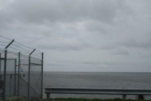Edge of S-308 structure standing on dike, looking east over Lake Okeechobee.