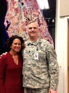 Me at a SFWMD WRAC meeting standing with ACOE Lt.Col. Greco. Greco oversees the Jacksonville District under Col Alan Dodd, 2015.